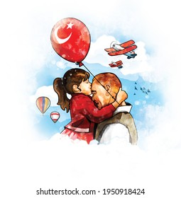 Ankara, Turkey - 23 April 1921:  Digital watercolor illustration of Atatürk and little girl. While the little girl kissed Atatürk's forehead and thanked him at the International Children's Day.