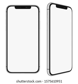 Ankara/Turkey - 12.1.2019: Mockup. iPhone X, iPhone 11 screen with white mask area. Front and right view for your design.