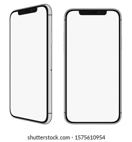 Ankara/Turkey - 12.1.2019: Mockup. iPhone X, iPhone 11 screen with white mask area. Front and left view for your design.