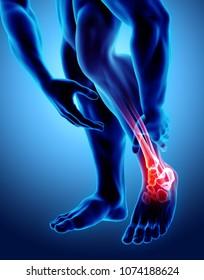 Knöchelschmerzen - Skelettrochen, 3D Illustration medizinisches Konzept.