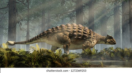 Ankylosaurus, one of the most popular dinosaurs, was a cretaceous era ornithischian herbivore.  The armored dino stands in a forest of fir trees with a floor of ferns light shining down. 3D Rendering.