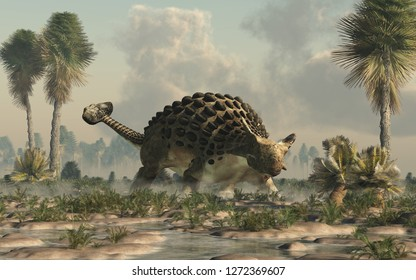 Ankylosaurus, one of the most popular dinosaurs, was a cretaceous era ornithischian herbivore.  The armored dino stands in a watery lowland. 3D Rendering.