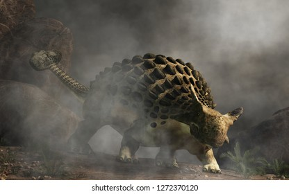 Ankylosaurus, one of the most popular dinosaurs, was a cretaceous era ornithischian herbivore.  The armored dino emerges from a dense fog. 3D Rendering.