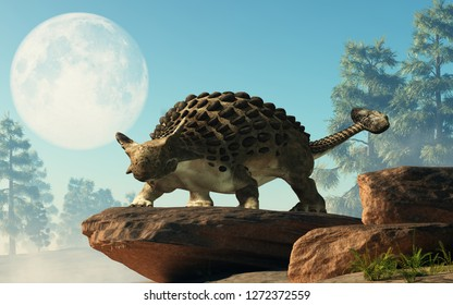 Ankylosaurus, one of the most popular dinosaurs, was a cretaceous era ornithischian herbivore. The armored dino stands on a rock under a full moon in the afternoon. 3D Rendering.