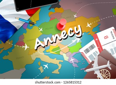 Annecy city travel and tourism destination concept. France flag and Annecy city on map. France travel concept map background. Tickets Planes and flights to Annecy holidays French vacation