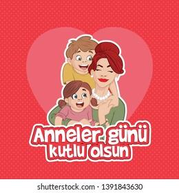 Anneler gunu kutlu olsun. Translate: Happy Mothers day. Mother's day card, background