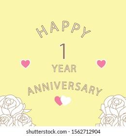 Anniversary 1 year, Cover anniversary, isolated on yellow background, Happy Anniversary.