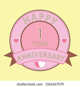 Anniversary 1st year, Number write on pink box, icon, isolated on yellow background, Happy Anniversary.