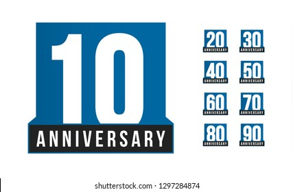 Anniversary icon. Birthday logo template. Greeting card desig element. Simple business decade emblem. Blue strict style number. Isolated illustration on white background