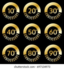 Anniversary icon or label set. 10,20,30,40,50,60,70,80,90 th years celebration and congratulation emblem.