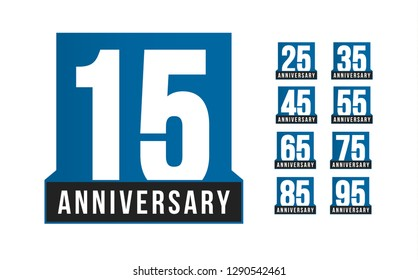 Anniversary icons set. Birthday logo template. Greeting card desig element. Simple business decade emblem. Blue strict style number. Isolated illustration on white background