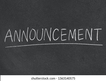 announcement concept word on blackboard background