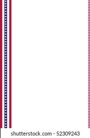 Announcement page decorated with American Flag strips ornaments, In honor of Memorial Day