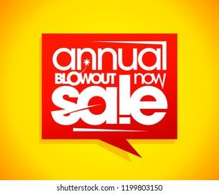 Annual blowout sale, speech bubble banner concept, raster version