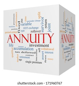 Annuity 3D cube Word Cloud Concept with great terms such as investment, rollover, income and more.