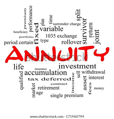 annuity word cloud concept red caps stock illustration 171960794