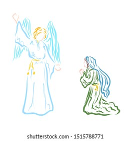 Annunciation, Angel proclaims to the Virgin Mary that she will give birth to the Savior
