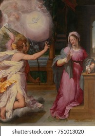 THE ANNUNCIATION, by Peter Candid, 1585, Netherlandish, Northern Renaissance painting, oil on wood. Kneeling on a cloud, the Angel Gabriel announces to Mary that she will conceive and bear God's son
