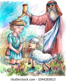 the anointing of David watercolor illustration children's story Bible, the sheep man, the prophet Samuel