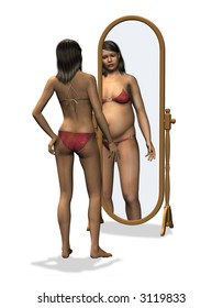 Anorexia - Distorted Body Image - 3D render. A slender young woman sees herself as fat.