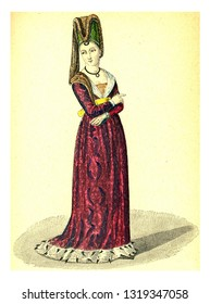 Another following of Isabeau of Bavaria, vintage engraved illustration. 12th to 18th century Fashion By Image