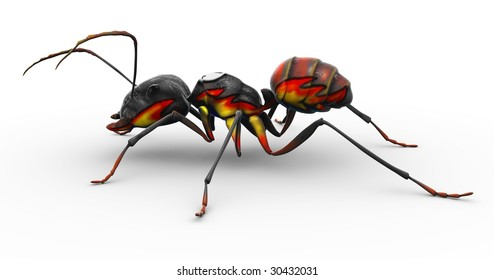 "An ant with flames painted onto his body, making him resemble the familiar ""fire ant"""