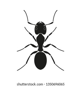 Ant icon. Black Silhouette of an ant. Insect logo.