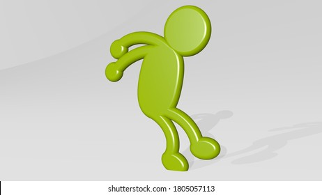 ANT MAN JUMPING 3D icon casting shadow, 3D illustration