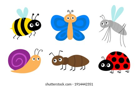 Ant, mosquito, bee bumblebee, butterfly, snail cochlea, lady bug ladybird insect icon set. Ladybug. Cute cartoon kawaii funny baby character. Happy Valentines Day. Flat design. White background