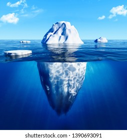 Antarctic Iceberg in blue ocean. Danger and global warming concept. -3d rendering. - Illustration.