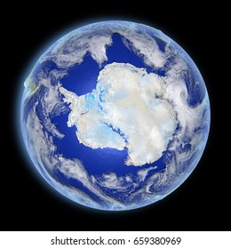 Antarctica from Earth's orbit in space with evening light and visible city lights. 3D illustration with detailed planet surface. Elements of this image furnished by NASA.