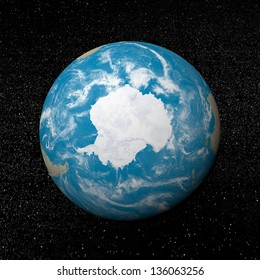 Antarctica on earth and universe background with stars - 3D render. Elements of this image furnished by NASA