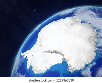 Antarctica on model of planet Earth with very detailed planet surface and clouds. 3D illustration. Elements of this image furnished by NASA.