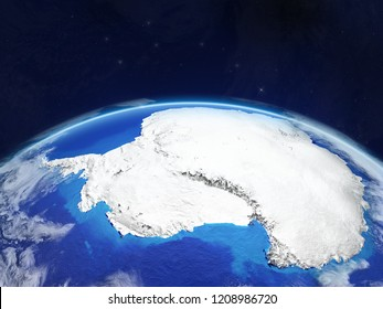 Antarctica on planet planet Earth in space. Extremely detailed planet surface and clouds. 3D illustration. Elements of this image furnished by NASA.