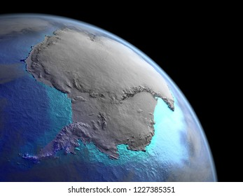 Antarctica on planet Earth from space. Very fine detail of textures with real plastic mountains and visible bright city lights. 3D illustration. Elements of this image furnished by NASA.