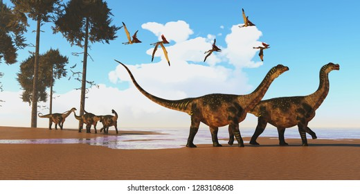 Antarctosaurus Dinosaur Seashore 3D illustration - A flock of Thalassodromeus reptiles fly over a herd of Antarctosaurus dinosaurs on their way to search for fish prey.