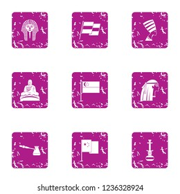 Antecedent icons set. Grunge set of 9 antecedent icons for web isolated on white background