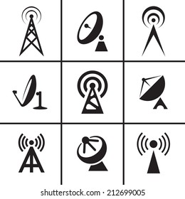 Antenna and satellite dish icons set illustration raster version