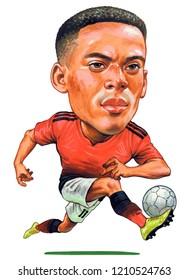 Anthony Joran Martial is a French professional footballer who plays as a forward for Premier League club Manchester United and the France national team. Illustration,Caricature,Design,October,24,2018