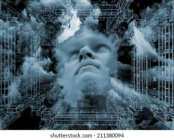 Anthropocentric series. Creative arrangement of human face and design elements as a concept metaphor on subject of technology, science, education and human mind