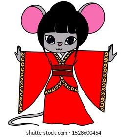 anthropomorphic mouse in a traditional Chinese Hanfu dress. New Year card. Rat year