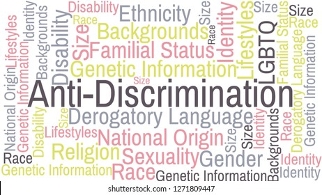 Anti discrimination word cloud with related words: Disability, Sexuality, Ethnicity, Gender, Race, LGBTQ+, Derogatory Language, National Origin, Familial Status, Religion, and Identity
