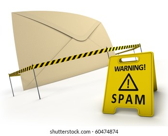ANTI SPAM concept. Spam mail behind danger tape and warning sign.