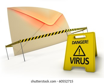 ANTI VIRUS concept. Mail with virus files inside behind danger tape and warning sign.