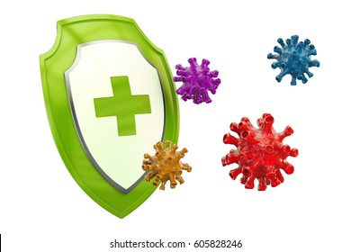 Antibacterial or antivirus shield, healthcare concept. 3D rendering