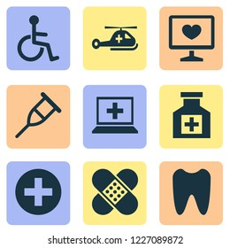Antibiotic icons set with tooth, helicopter, computer and other painkiller elements. Isolated  illustration antibiotic icons.