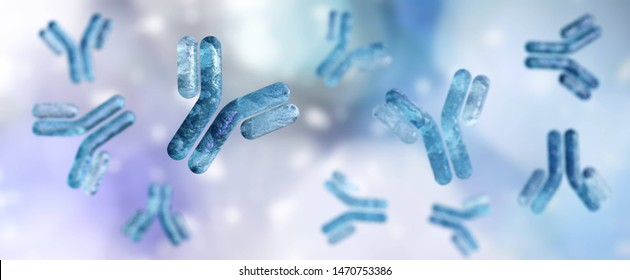 antibody, immunoglobulin, Y-shaped protein produced mainly by plasma cells,   3d rendering