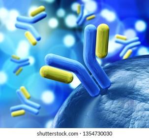 antibody, immunoglobulins, 3d rendering