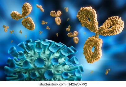 Antibody and Virus - visual concept of immune System - 3D illustration