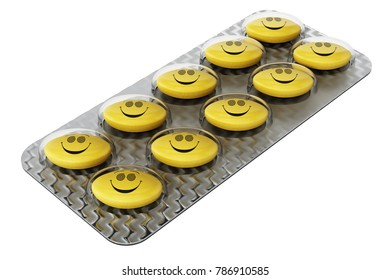 Antidepressant pill with smiling face in blister pack. 3D illustration.